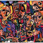 David C. Driskell, Spirits Watching, 1986 - 1995, hand-colored offset lithograph, 23/100, Brandywine Workshop, 21 1/2 x 30 inches, collection of Tuliza Fleming. � David C. Driskell, 2007.