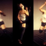 """Alisia Waller (x3) performing in """"Riot"""" at Mobius' Movement Works in Progress. Photo by Bob Raymond."""