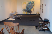"""Installation shot of works by Timothy Scott Dalbow on """"Day 1"""" at the New American Art Union."""