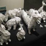 Sculptues made from aluminum foil. The artist, Dean Millien, attends the League Treatment Center in Brooklyn, a fledgling day program for artists with disablities. They had a corner in the Fountain Gallery's space. They're operating with just three staff.