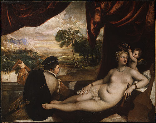 """Tiziano """"Titian"""" Vecelli, Venus and the Lute Player, oil on canvas, 1565–70."""