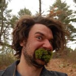 Jon Taylor with moss in his mouth.