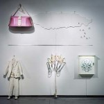 """Andrew Mowbray, Palingenesis, 2005. Installation features """"Bachelor Suit"""", """"Catch and Release"""", """"Rod and Reel"""", """"Cabinet"""", and """"Creel"""""""