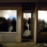 View from the outside of SUNDAY for the opening of Joel Gibb.
