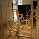 """Images from """"Great Apes,"""" Femke Lutgerink's curatorial efforts at Boston's Second Gallery."""