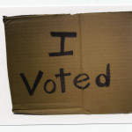 Alejandro Diaz, I Voted from Blame it on Mexico, cardboard and marker, 2008