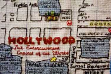Gina Dawson, detail from Movie Star Homes, custon cross stitch, 2005