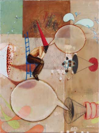Jennifer Cawley, Next Move, Mixed media on panel.