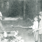 """Cobi Moules Untitled (Camping 9), graphite on paper, 2010 2.5""""x3.5"""" On view at Carroll and Sons Gallery."""