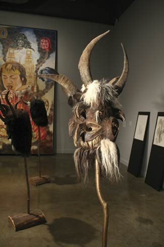 Cameron Jamie, Kranky Masks, fur, wood, animal horns, 2004. Carved and fabricated by Max Koessler, Bad Hofgastein, Austria.
