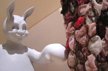 One of Loik's rabbits touching part of Flaherty's installation at Rhys Gallery.