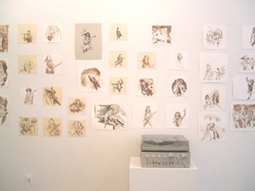 Jospeh Wardell, installation view of Heavy History, 69 drawings from Full Length
