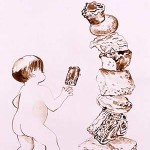 Karen Moss, Tower of Sugar and Starch, walnut ink on paper, 2006