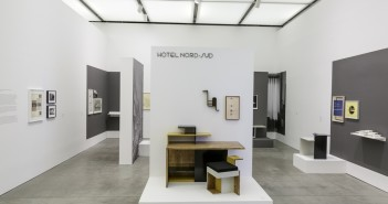 Katarina Burin, HOTEL NORD—SUD 1932—34: Design and Correspondence, 2013, Drawings, silver gelatin prints, architectural models, objects, furniture, vinyl letters, wall paint, digital images. Dimensions variable. Courtesy the artist. Photo: John Kennard.