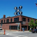 Robert Indiana's EAT sculpture on the roof of the Farnsworth Art Museum, Rockland, ME
