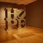 Robert Indiana, HOPE, 2008, stainless steel, 72x72x36, collection of Michael McKenzie