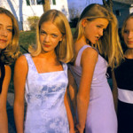 Lauren Greenfield, Alli, Annie, Hannah and Berit, all 13, before the first big party of the seventh grade, Edina, Minnesota, Silver dye bleach print, from the book Girl Culture, Chronicle Books, 2002.