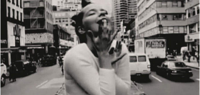 "Björk, Still from ""Big Time Sensuality"" directed by Stéphane Sednaoui, 1993. Credit: Courtesy Wellhart Ltd & One Little Indian."