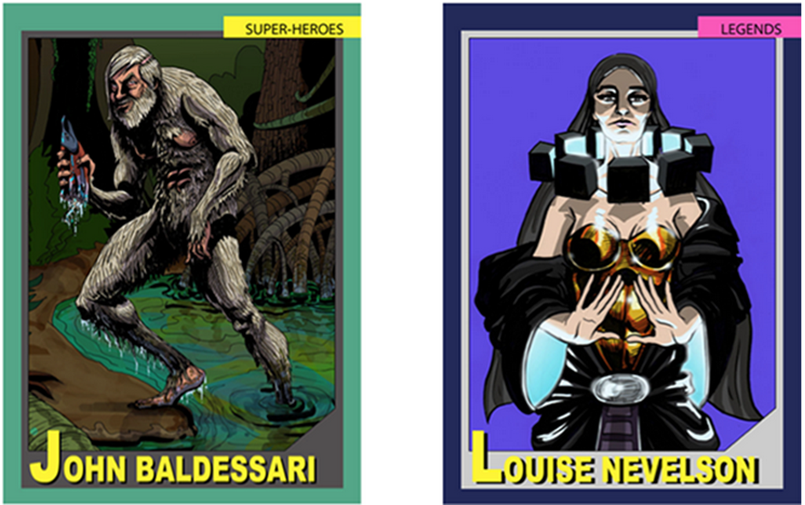 Examples of Art World Universe cards.  Currently a working artist, John Baldessari is featured as one of the Super-Heroes. Louise Nevelson, who is no longer living, is in the celebrated category of Legends. Images courtesy of the artists.
