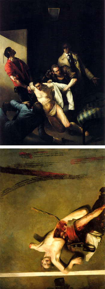 Images above, top: Odd Nerdrum, The Murder of Andreas Baader, oil on canvas, 1978 bottom: Odd Nerdrum Amputation, oil on canvas, 1974.