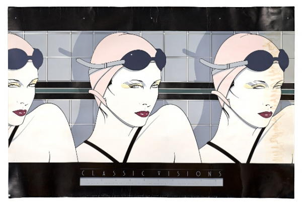 Barb Choit, Patrick Nagel, 'Swimmers,' Fine Art Poster, Diluted Bleach Bath, UV Exposure Time Four Weeks, digital c-print, 20 x 30 inches, 2009.