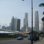Look across the cricket grounds to the Financial District, Singapore.