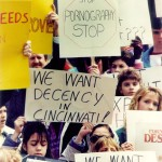 """Protesters outside the courthouse in 1990 protesting """"Robert Mapplethorpe: The Perfect Moment"""" exhibit in Cincinnati."""