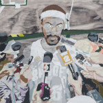 Anna Fidler, Rasheed with Mics, Pencil, pastel, acrylics on paper, 2009.