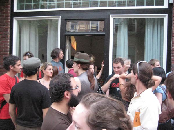 The crowd outside MEME Gallery in Central Square, Cambridge