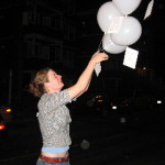 Former Berwick Director Meg Rotzel releases balloons for a project by Morgan Schwartz