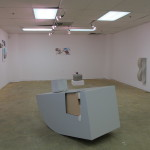 Upstairs space with works by Jessie Vogel (foreground), Landon O'Brien (background on floor), Jon Waites (right wall), Ramon Kassam (left and back wall)