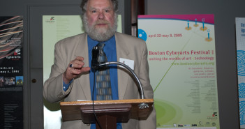 George FIfield speaking at the 2009 Boston Cyberarts Festival Gala. Image by James Manning