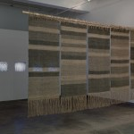 Beryl Korot, Text and Commentary, 1976—77. Installation: five-channel video (black and white, sound, 30:00 minutes), weavings, drawings, and pictographic video notations; dimensions variable. Courtesy of bitforms gallery, New York. Photo by John Berens.