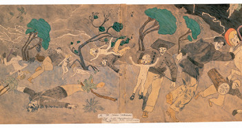 """Henry Darger (1892-1973) 175 At Jennie Richee. Everything is allright though storm continues. (double-sided) Chicago Mid-twentieth century Watercolor, pencil, carbon tracing, and collage on pieced paper 24 x 108 1/4"""" Collection American Folk Art Museum, New York Museum purchase, 2001.16.2A © Kiyoko Lerner Photo by James Prinz"""