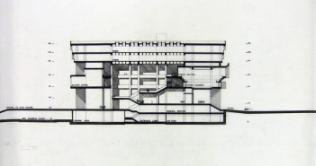 McKinnell, N. Michael (Noel Michael), 1935- (Draftsman) Section elevation preliminary stage competition drawing, Boston City Hall, Boston, Mass.