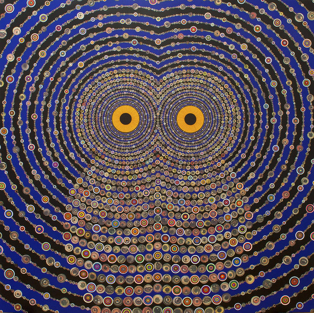 """Thursday 11 April Museum of Fine Arts, Alfond Auditorium, 465 Huntington Avenue, Boston Lecture: Fred Tomaselli 12:30pm / Free. Attendees must obtain free tickets from a kiosk or ticket desk at the MFA to gain admittance.  """"Night Music for Raptors"""" (2011) by Fred Tomaselli. The collage is acrylic and resin on wood panel. Source: Gagosian Gallery"""
