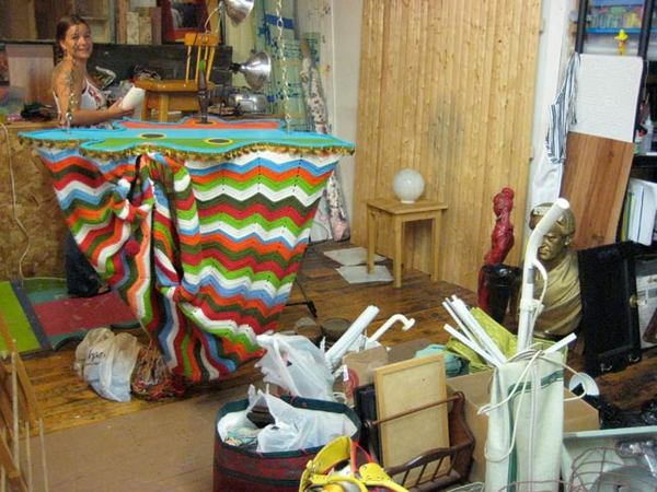 Fields, among the many objects in her studio.