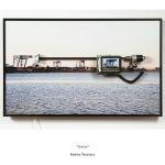 Andrew Neumann, Cranes,  Archival Pigment Print, LCD Screen, Motor, Misc. electronics, 2007 Image Courtesy of the Artist