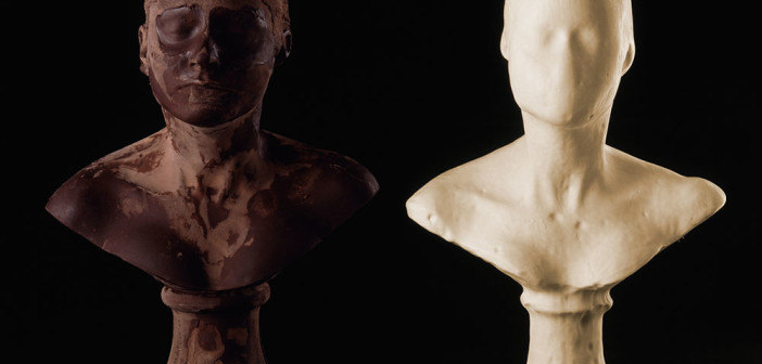 Janine Antoni Lick and Lather, 1993 Two self-portrait busts: one chocolate and one soap 24 X 16 X 13 inches (60.96 X 40.64 X 33.02 cm) Photographed by John Bessler