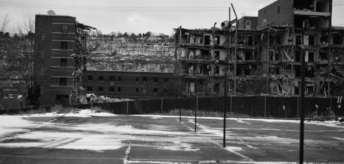 LaToya Ruby Frazier , U.P.M.C. Braddock Hospital and Holland Avenue Parking Lot, 2011. Silver gelatin print 48 x 60 inches Courtesy of the artist and Galerie Michel Rein, Paris