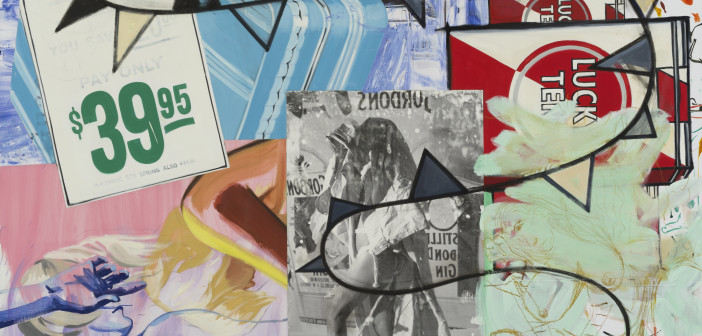 David Salle Pay Only $39.95, 2014-2015 oil, acrylic, crayon, archival digital print and pigment transfer on linen 84 x 96 inches Image courtesy Skarstedt, New York