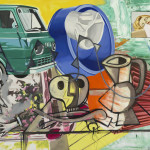 David Salle This is the Fun, 2014-2015 oil, acrylic and archival digital print on linen and canvas 70 x 96 inches Image courtesy Skarstedt, New York