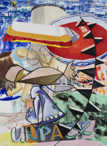 David Salle Carny Mind, 2015 oil, acrylic, silkscreen, charcoal, crayon and archival digital print on linen 96 x 70 inches Image courtesy Skarstedt, New York