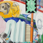 David Salle Home Guard, 2015 oil, acrylic, crayon, archival digital print and felt on linen 92 x 59 1/2 inches Image courtesy Skarstedt, New York