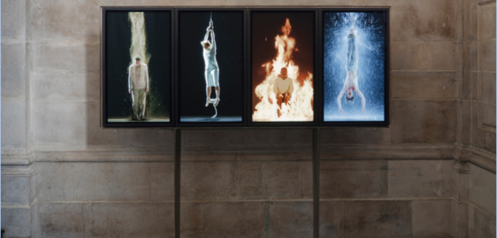 Bill Viola, Martyrs (Earth, Air, Fire, Water), 2014 Installation view.  Courtesy of Blain Southern Gallery; Photo: Peter Mallet, 2014.
