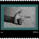 "Commemorative stamp piece from the ""Kids that Kill Kids"" series by Traci Molloy. Image courtesy of the artist"