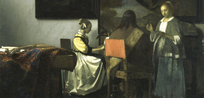 Vermeer, The Concert 1658—1660 Oil on canvas, 72.5 x 64.7 cm [Dutch Room - on a table by the window facing the doorway] Isabella Stewart Gardner Museum, Boston