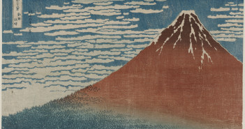 Fine Wind, Clear Weather (Gaifû kaisei), also known as Red Fuji, from the series Thirty-six Views of Mount Fuji (Fugaku sanjûrokkei) Katsushika Hokusai (Japanese, 1760–1849) about 1830–31 (Tenpô 1–2) Woodblock print (nishiki-e); ink and color on paper * Nellie Parney Carter Collection—Bequest of Nellie Parney Carter * Photograph © Museum of Fine Arts, Boston