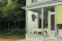 Edward Hopper, Seven A.M., 1948. Oil on canvas, 30 3/16 × 40 1/8 in. (76.7 × 101.9 cm). Whitney Museum of American Art, New York; purchase and exchange 50.8 On view © Heirs of Josephine N. Hopper, licensed by the Whitney Museum of American Art, New York