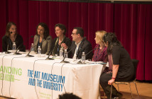 Engaging Audiences panel, May 8, 2014; seated left to right: panel chair Molleen Theodore, Yale University Art Gallery; Tess Korobkin, Yale University Art Gallery; Cyra Levenson, Yale Center for British Art; Luis Croquer, Henry Art Gallery, University of Washington; Marla Berns, Fowler Museum at UCLA; Aimee Chang, Berkeley Art Museum and Pacific Film Archive